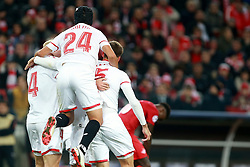 October 18, 2017 - Moscow, Russia - October 17, 2017. Russia, Moscow, Otkritie Arena Stadium. Sevilla's players celebrate scoring a goal in the 2017/18 UEFA Champions League's group stage match between Spartak (Moscow, Russia) and Sevilla FC  (Credit Image: © Russian Look via ZUMA Wire)