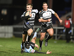 Lewis Williams Pontypridd on the attack in tonights game.<br /> <br /> Photographer Mike Jones/Replay Images<br /> <br /> Principality Premiership - Neath v Pontypridd - Friday 16th March 2018 - The Gnoll Neath<br /> <br /> World Copyright © Replay Images . All rights reserved. info@replayimages.co.uk - http://replayimages.co.uk