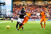 Dundee United defender Jamie Robson (#17) challenges Dundee forward Roarie Deacon (#21) during the Betfred Scottish Cup match between Dundee and Dundee United at Dens Park, Dundee, Scotland on 9 August 2017. Photo by Craig Doyle.