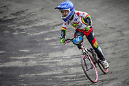 #74 during practice at the 2018 UCI BMX World Championships in Baku, Azerbaijan.