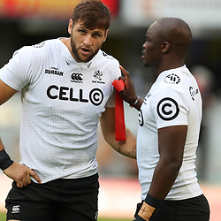 DURBAN, SOUTH AFRICA - APRIL 14: Ruan Botha of the Cell C Sharks with Tera Mtembu of the Cell C Sharks during the Super Rugby match between Cell C Sharks and Vodacom Bulls at Jonsson Kings Park Stadium on April 14, 2018 in Durban, South Africa. (Photo by Steve Haag/Gallo Images)