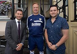 Andy Cross of Blackthorn, Bristol City head coach Sean O'Driscoll and darts player Steve Brown - Photo mandatory by-line: Kieran McManus/JMP - Tel: Mobile: 07966 386802 31/07/2013 - SPORT - FOOTBALL - Avon Gorge Hotel - Clifton Suspension bridge - Bristol -  Team Photo