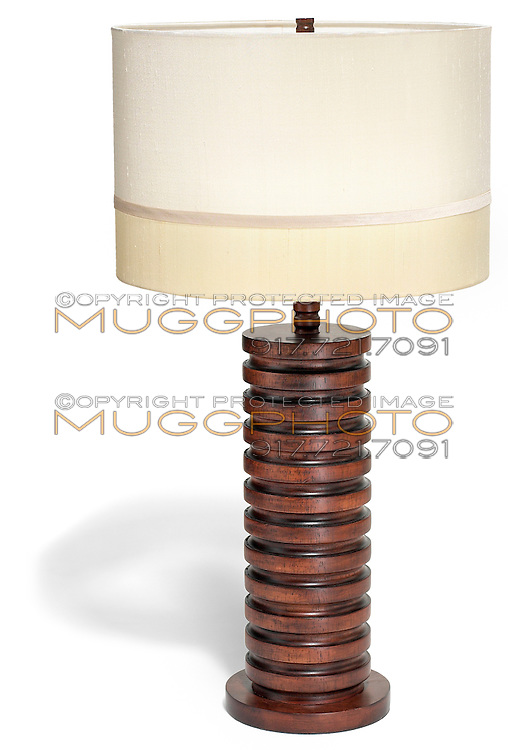 wooden lamp base with satin lampshade