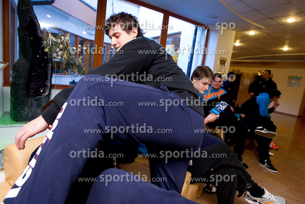 Matej Gaber under Matevz Skok at press conference of Slovenian Handball Men National Team, on January 13, 2011, in Zrece, Slovenia. (Photo by Vid Ponikvar / Sportida)