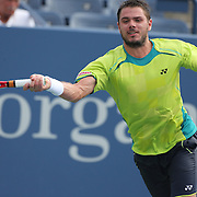 Stanislas Wawrinka, Switzerland, in action against Novak Djokovic, Serbia, during the US Open Tennis Tournament, Flushing, New York. USA. 5th September 2012. Photo Tim Clayton