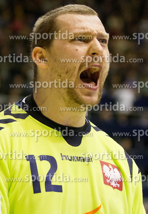 Marcin Wichary of Poland during handball match between Poland and Serbia in Preliminary Round of 10th EHF European Handball Championship Serbia 2012, on January 15, 2012 in Arena Pionir, Belgrade, Serbia.  (Photo By Vid Ponikvar / Sportida.com)