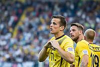 BREDA - NAC - Jong Ajax , Voetbal , Seizoen 2015/2016 , Jupiler league , Rat Verlegh Stadion , 21-08-2015 , NAC Breda speler Mats Seuntjens maakt het eerste doelpunt voor de 1-0 en laat zien aan het publiek dat NAC in zijn hart zit
