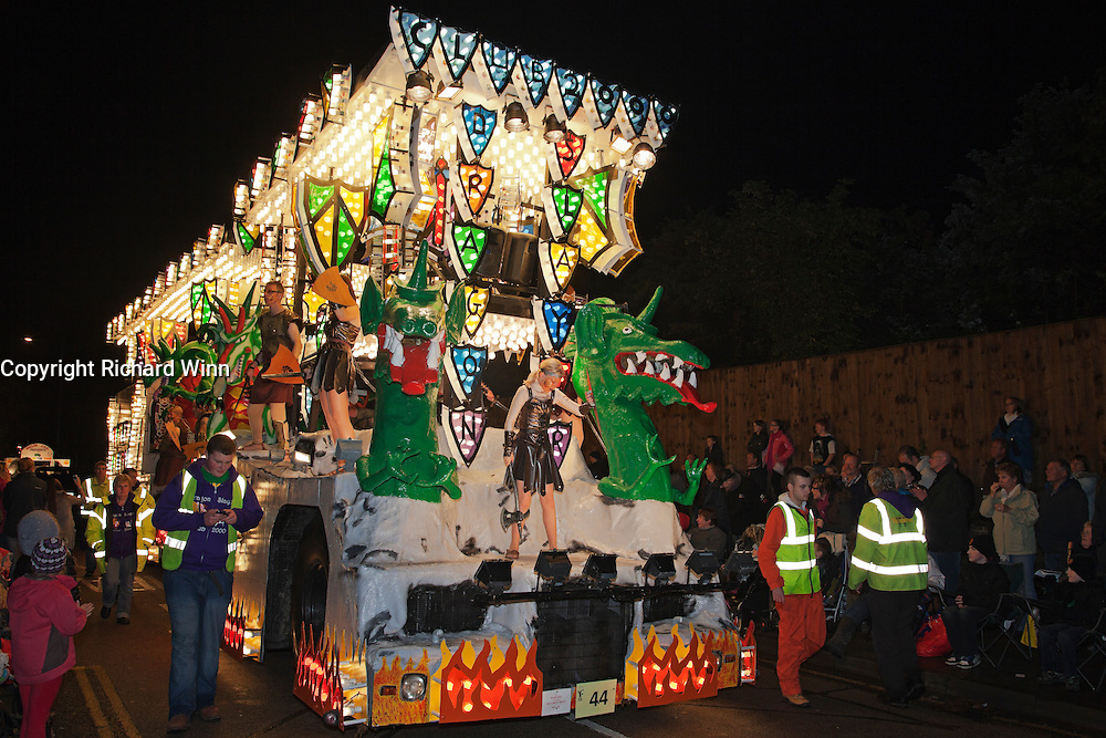 Dragon Slayer by Club 2000 at the 2011 Bridgwater Guy Fawkes Carnival. Bridgwater Carnival is an annual event to raise money for local charities. It is widely reputed to be the largest illuminated carnival in the world.