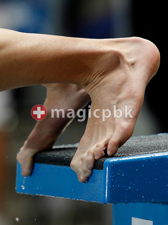 Feet of an unidentified swimmer are pictured during the start in the men's 100m butterfly heats in the Hallenbad Oerlikon at the Swimming Swiss Championships in Zurich, Switzerland, Saturday 12 May 2007. (Photo by Patrick B. Kraemer / MAGICPBK)