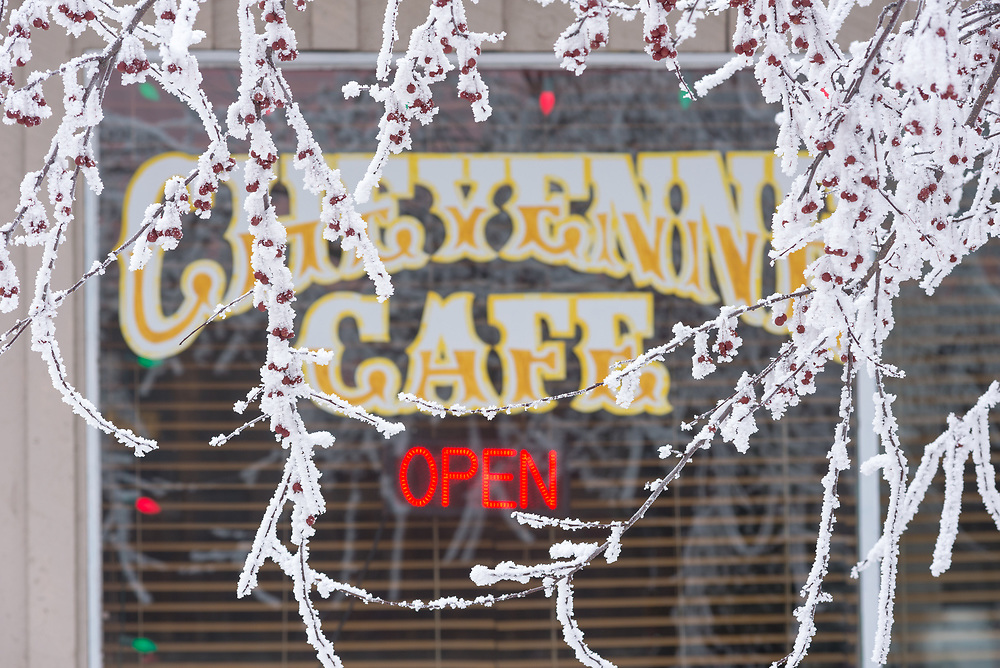 Window of the Cheyenne Cafe on a winter day in Joseph, Oregon.