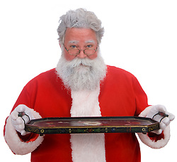 Santa on a white background holding an empty tray where any product can be placed