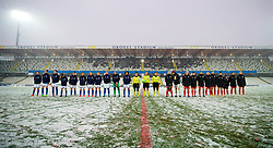 CESENA, ITALY - Tuesday, January 22, 2019: Italy and Wales players line-up before the International Friendly between Italy and Wales at the Stadio Dino Manuzzi. (Pic by David Rawcliffe/Propaganda)