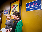 19 APRIL 2019 - HARLAN, IOWA:  US Senator KIRSTEN GILLIBRAND is introduced during a campaign event Harlan,  a rural Iowa town. Gillibrand is campaigning in western Iowa Friday to support her candidacy to be the Democratic nominee for the US presidency in the 2020 election. Iowa traditionally hosts the the first selection event of the presidential election cycle. The Iowa Caucuses will be on Feb. 3, 2020.                PHOTO BY JACK KURTZ