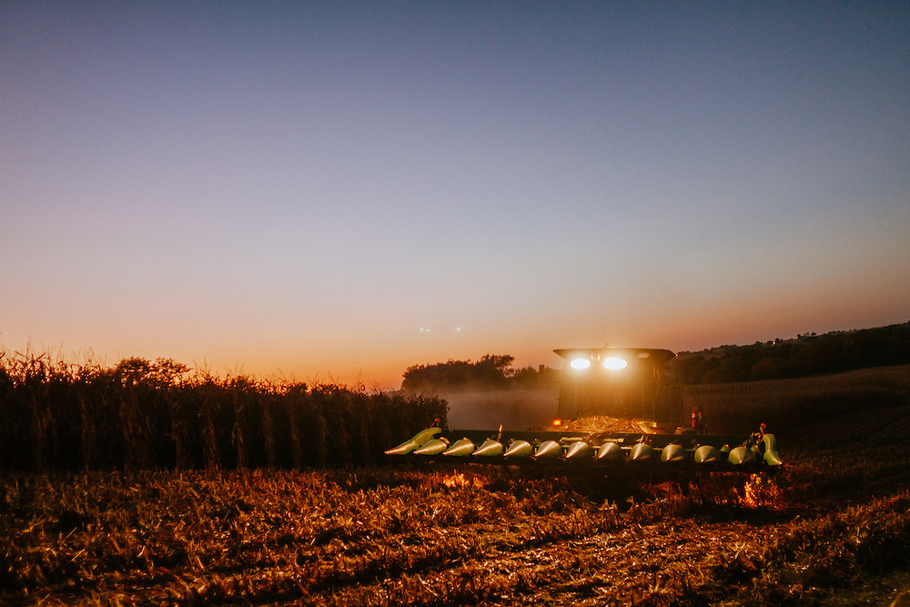 Combine harvesting corn on an Iowa farm.<br />