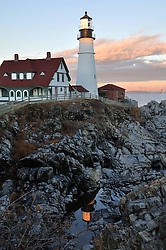 Portland Head Lighthouse with reflection.