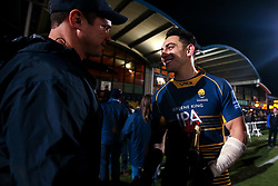 Bryce Heem of Worcester Warriors celebrates with Worcester Warriors Head Coach Rory Duncan - Mandatory by-line: Robbie Stephenson/JMP - 05/01/2019 - RUGBY - Sixways Stadium - Worcester, England - Worcester Warriors v Bath Rugby - Gallagher Premiership Rugby