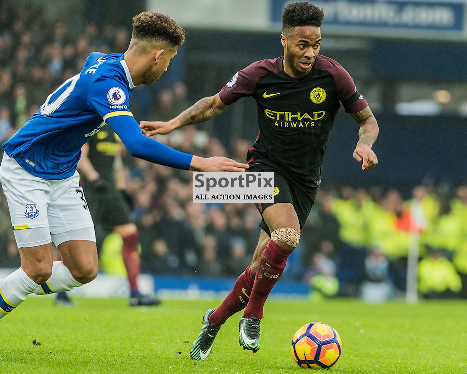 Manchester City midfielder Raheem Sterling (7) on the ball in the Premier League match between Everton and Manchester City<br /> <br /> (c) John Baguley | SportPix.org.uk