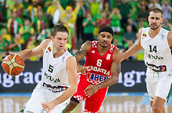 Mantas Kalnietis #5 of Lithuania vs Dontaye Draper #6 of Croatia during basketball match between National teams of Lithuania and Croatia in Semifinals at Day 17 of Eurobasket 2013 on September 20, 2013 in Arena Stozice, Ljubljana, Slovenia. (Photo by Vid Ponikvar / Sportida.com)