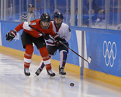 February 18, 2018 - Pyeongchang, KOREA - Switzerland defenseman Nicole Gass (8) and Korea forward Caroline Nancy Park (5) in a hockey game between Switzerland and Korea during the Pyeongchang 2018 Olympic Winter Games at Kwandong Hockey Centre. Switzerland beat Korea 2-0. (Credit Image: © David McIntyre via ZUMA Wire)