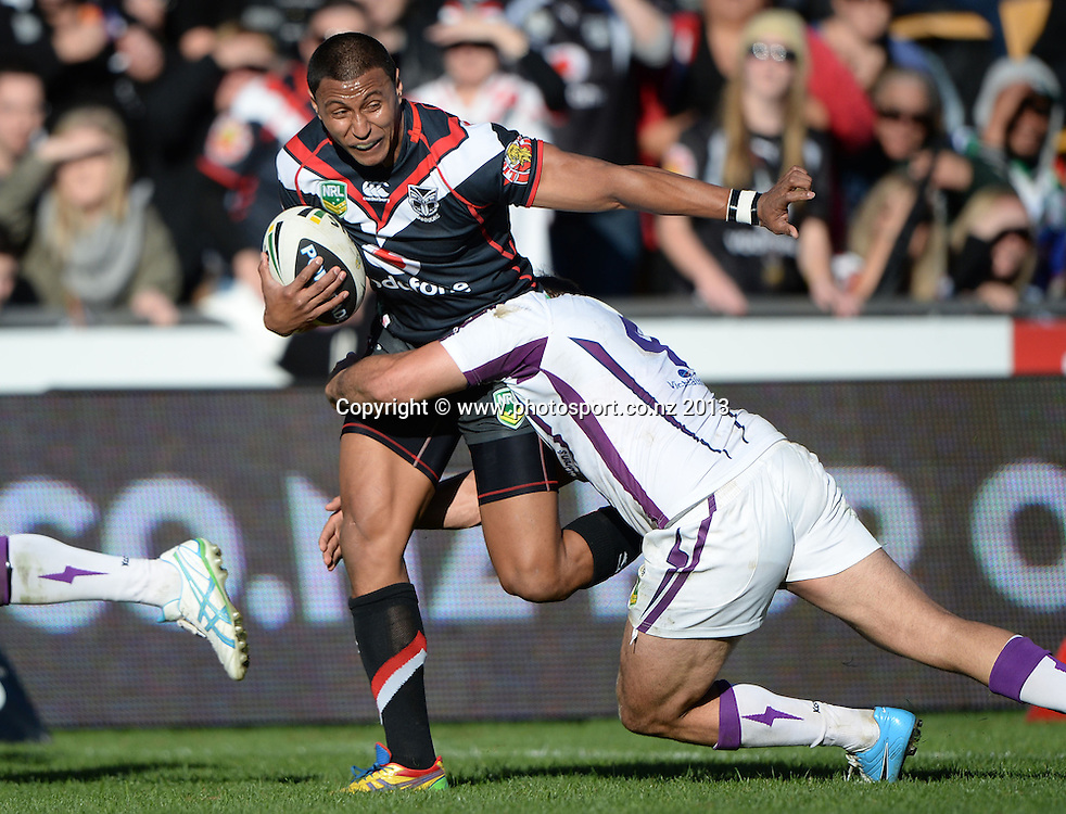 Dominique Peyroux. NRL Rugby League match, Vodafone Warriors v Melbourne Storm at Mt Smart Stadium in Auckland on Sunday 28 July 2013. Photo: Andrew Cornaga/Photosport.co.nz