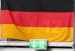 29.07.2010, Brita Arena, Wiesbaden, GER, Football EM 2010, Team Finland vs Team Germany, im Bild ein Feature mit deutscher Fahne und Schild fuer einen Fluchtweg,  EXPA Pictures © 2010, PhotoCredit: EXPA/ T. Haumer / SPORTIDA PHOTO AGENCY