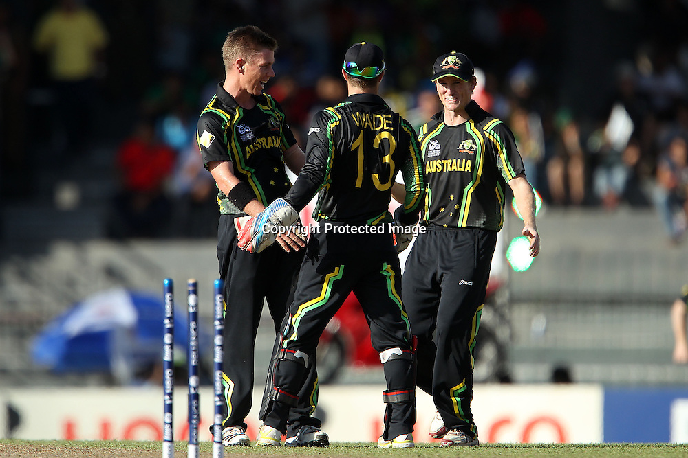 Xavier Doherty celebrates the wicket of JP Duminy (stumped) during the ICC World Twenty20 Super 8s match between Australia and South Africa held at the Premadasa Stadium in Colombo, Sri Lanka on the 30th September 2012<br /> <br /> Photo by Ron Gaunt/SPORTZPICS