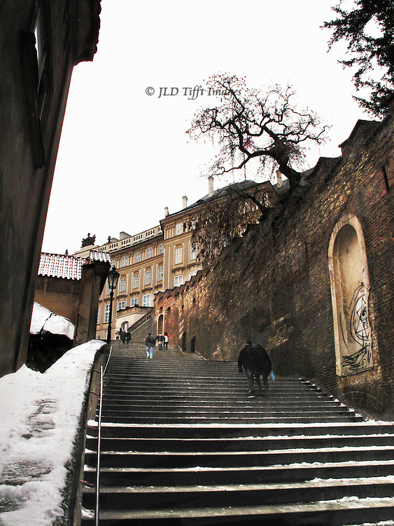 Looking up the castle steps towards Hradcany from Prague Lesser Town.