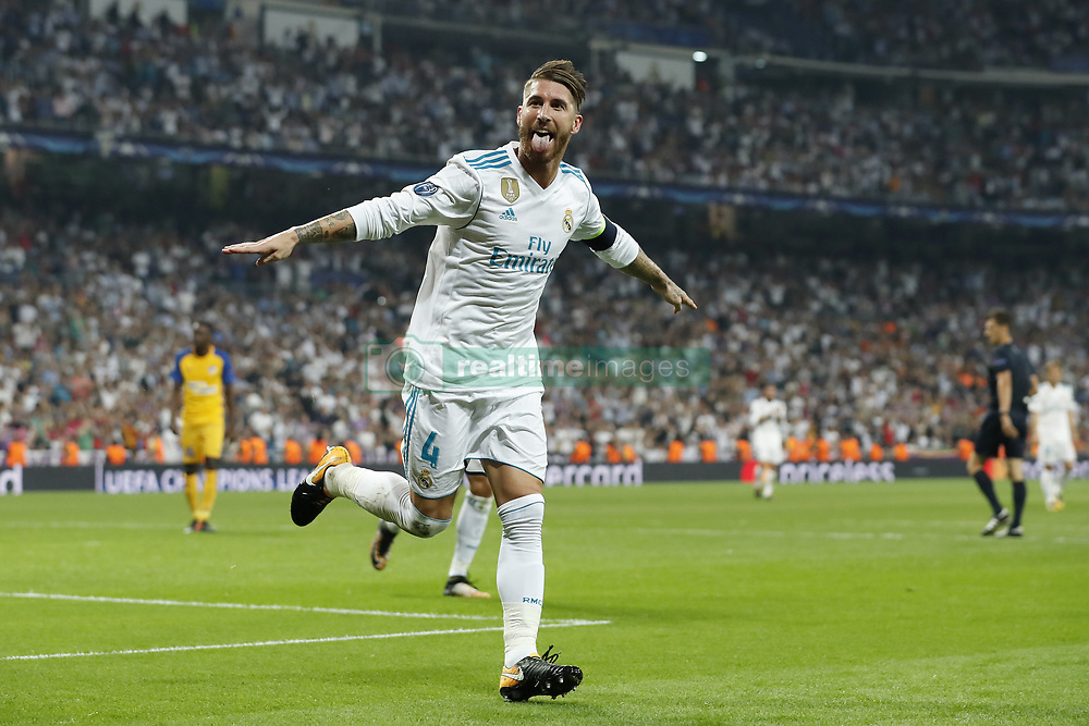 Sergio Ramos of Real Madrid during the UEFA Champions League group H match between Real Madrid and APOEL FC on September 13, 2017 at the Santiago Bernabeu stadium in Madrid, Spain.