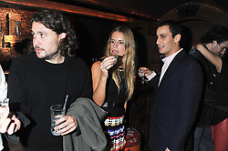 Left to right, ADAM WAYMOUTH, EUGENIE NIARCHOS and ALEX DELLAL at a party to celebrate the opening of the Muzungu Sisters Pop Up Store at Momo - an ethically sourced fashion brand  held at Momo, 25 Heddon Street, London on 27th October 2011.