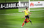 Phoenix' Andrew Durante heads the ball towards goal during the Round 22 A-League football match - Wellington Phoenix V Adelaide United at Westpac Stadium, Wellington. Saturday 5th March 2016. Copyright Photo.: Grant Down / www.photosport.nz