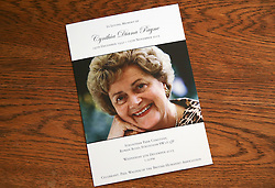 © Licensed to London News Pictures. 09/12/2015. London, UK. The order of service... The funeral of former brothel keeper Cynthia Payne takes place at the South London Crematorium.  In 1980 Cynthia Payne was sentenced to 18 months for running a brothel at her house on Ambleside Avenue in Streatham. It was alleged, at the time, that judges and Members of Parliament were visitors to her establishment. Photo credit: Peter Macdiarmid/LNP