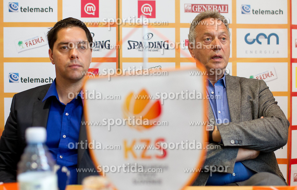 Saso Filipovski, head coach of Union Olimpija and Zmago Sagadin, head coach of Helios Slovan during press conference of Slovenian basketball Champions League 2011/12 before Semifinal and Final games, on May 4, 2012 in Hotel City, Ljubljana, Slovenia.  (Photo by Vid Ponikvar / Sportida.com)