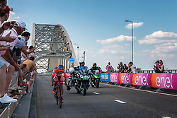 Breakaway from the peloton with rider of Nippo - Vini Fantini (ITA) at the 1st lap, 1200m before the finish on the Waalbridge at Nijmegen, stage 2 from Arnhem to Nijmegen running 190 km of the 99th Giro d'Italia (UCI WorldTour), The Netherlands, 7 May 2016. Photo by Pim Nijland / PelotonPhotos.com | All photos usage must carry mandatory copyright credit (Peloton Photos | Pim Nijland)