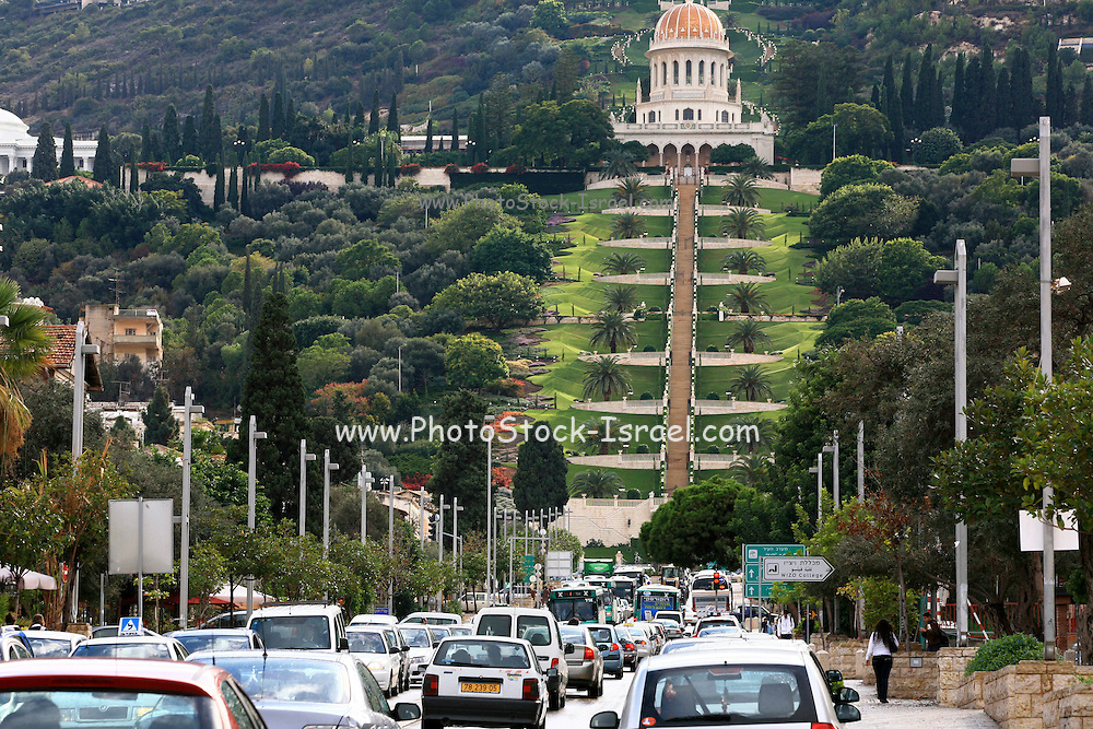 Israel, Haifa, A traffic jam in the street under the Bahai gardens in the German Colony