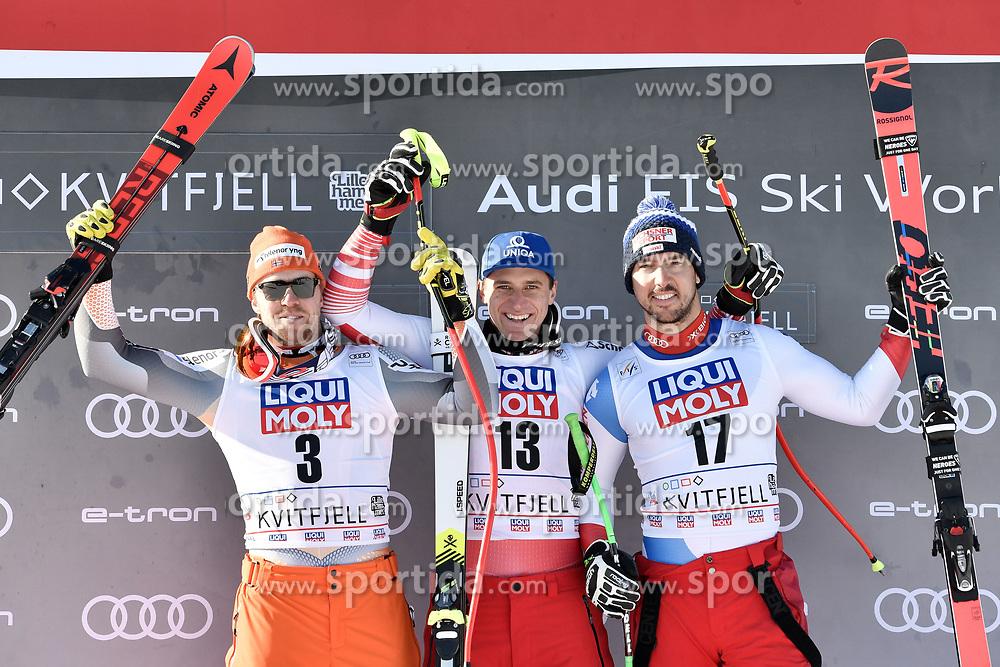 07.03.2020, Kvitfjell, NOR, FIS Weltcup Ski Alpin, Abfahrt, Herren, Siegerehrung, im Bild v.l. Aleksander Aamodt Kilde (NOR, 2. Platz), Matthias Mayer (AUT, 1. Platz), Carlo Janka (SUI, 3. Platz) // f.l. second placed Aleksander Aamodt Kilde of Norway, race winner Matthias Mayer of Austria, third placed Carlo Janka of Switzerland during the winner ceremony for the men's Downhill of FIS ski alpine world cup. Kvitfjell, Norway on 2020/03/07. EXPA Pictures © 2020, PhotoCredit: EXPA/ ZOOM