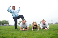 Five charities have issued a challenge to sporting enthusiasts in Galway to join them in a fundraising Guinness world record attempt &ndash; &lsquo;We&rsquo;re Planking it&rsquo;.<br /> The record which they are attempting to break is for the most people holding the abdominal plank position. It is being undertaken under the stewardship of local couple Sene and George Naoupu and a team of fitness instructors from their health and lifestyle business.<br /> The benefiting charities include Self Help Africa, the Irish Heart Foundation, COPE Galway, ACT for Meningitis and Special Olympics Connaught.<br /> Hurler Ollie Canning  and John Muldoon , Connacht Rugby Captain and  Maire Treasa Ni Dhubhghaill TG4 with Dawn McGoldrick Act for Menegitis. Photo: andrew downes