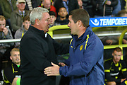 Burton Albion manager Nigel Clough and Aston Villa manager Steve Bruce shake hands during the EFL Sky Bet Championship match between Burton Albion and Aston Villa at the Pirelli Stadium, Burton upon Trent, England on 26 September 2017. Photo by John Potts.