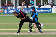 Will Davis bowling during the Vitality T20 Blast North Group match between Worcestershire Rapids and Leicestershire Foxes at Blackfinch New Road, Worcester, United Kingdom on 4 August 2019.