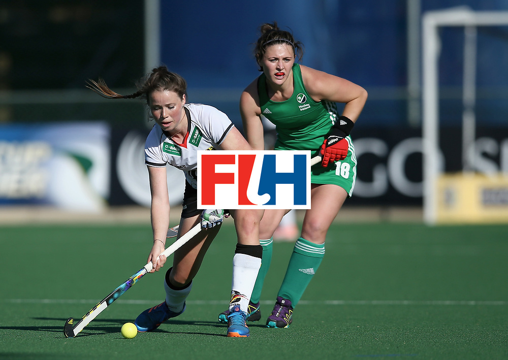 JOHANNESBURG, SOUTH AFRICA - JULY 10: Viktoria Huse of Germany and Roisin Upton of Ireland battle for possession during day 2 of the FIH Hockey World League Semi Finals Pool A match between Germany and Ireland at Wits University on July 10, 2017 in Johannesburg, South Africa. (Photo by Jan Kruger/Getty Images for FIH)