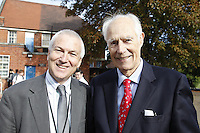 Nick Williams (Principal) and Sir George Martin CBE, The BRIT School Industry Day, Croydon, London..Thursday, Sept.22, 2011 (John Marshall JME)