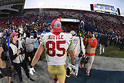 Dec 30, 2018; Los Angeles, CA, USA; San Francisco 49ers tight end George Kittle (85) walks off the field after the game at Los Angeles Memorial Coliseum. The Rams defeated the 49ers 48-31.  (Robin Alam/Image of Sport)