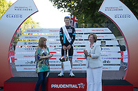 King of the Mountain winner Erick Rowsell on the podium after The Surrey 100 during The Prudential RideLondon weekend.<br /> Sunday 2nd August 2015. <br /> <br /> Prudential RideLondon is the world's greatest festival of cycling, involving 95,000+ cyclists – from Olympic champions to a free family fun ride - riding in five events over closed roads in London and Surrey over the weekend of 1st and 2nd August 2015. <br /> <br /> Photo: Paul Gregory<br /> <br /> See www.PrudentialRideLondon.co.uk for more.<br /> <br /> For further information: Penny Dain 07799 170433<br /> pennyd@ridelondon.co.uk