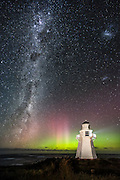 The awe-inspiring Milky Way and Aurora Australis behind the Waipapa Point Lighthouse, Catilns, New Zealand.  March 19th, 2015.