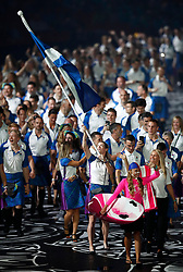 Scotland's flag bearer Eilidh Doyle leads the team out during the Opening Ceremony for the 2018 Commonwealth Games at the Carrara Stadium in the Gold Coast, Australia. PRESS ASSOCIATION Photo. Picture date: Wednesday April 4, 2018. See PA story COMMONWEALTH Ceremony. Photo credit should read: Martin Rickett/PA Wire. RESTRICTIONS: Editorial use only. No commercial use. No video emulation