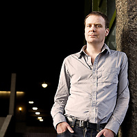 Author  Tom McCarthy, photographed outside The Barbican in London<br /> <br /> Adrian Lourie/Writer Pictures <br /> contact +44 (0)20 8224 1564 <br /> sales@writerpictures.com <br /> www.writerpictures.com
