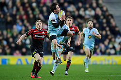 Northampton Winger (#11) Jamie Elliott takes a high ball during the second half of the match - Photo mandatory by-line: Rogan Thomson/JMP - Tel: Mobile: 07966 386802 30/12/2012 - SPORT - RUGBY - stadiummk - Milton Keynes. Saracens v Northampton Saints - Aviva Premiership.