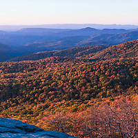 Golden hour panorama view from Beacon Heights, near Banner Elk, NC with fall foliage