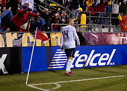 United States midfielder Michael Bradley (4) celebrates his second goal of the game in the 92nd minute.  The United States men's soccer team defeated the Mexican national team 2-0 in CONCACAF final group qualifying for the 2010 World Cup at Columbus Crew Stadium in Columbus, Ohio on February 11, 2009.