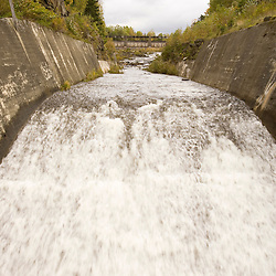 The Connecticut River after flowing through the Murphy Dam in Pittsburg, New Hampshire.  Outlet of Lake Francis.