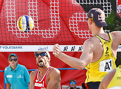 06.08.2011, Klagenfurt, Strandbad, AUT, Beachvolleyball World Tour Grand Slam 2011, im Bild Nick Lucena USA, Jonas Reckermann GER, AUT , EXPA Pictures © 2011, PhotoCredit EXPA Gert Steinthaler